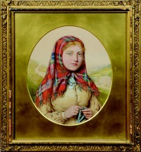 girl in a tartan shawl by walter langley