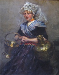 young girl with copper vessels by rudolf possin