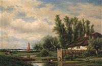 rivier landschap by adrianus van everdingen