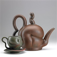 teapot, cup and saucer (3 pieces) by chris gustin