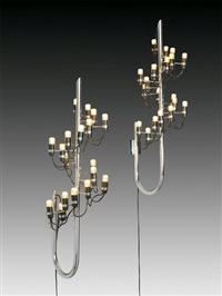two wall appliques, each with 19 lights (model 226) by gino sarfatti