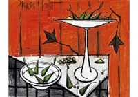 nature morte au fond rouge by bernard buffet