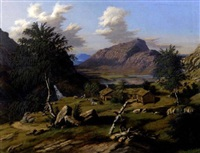 fjellandskap med mann og bjorkestammer by johannes flintoe