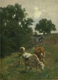 kühe mit hirtin auf besonnter weide by wilhelm friedrich frey