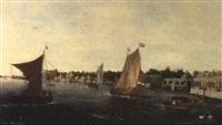 bateaux navigant sur une riviere bordant des maisons by vincent laurensz van der vinne the elder