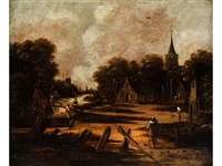 stadtansicht mit windmühle an einem fluss by jan meerhout