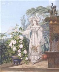 une femme cueillant une rose sur une terrasse donnant sur la mer by franz xaver nachtmann