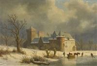 winterliche seeuferpartie mit schloss und figurenstaffage by caesar bimmermann