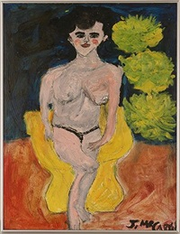 topless woman in yellow chair by justin mccarthy