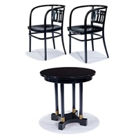 cafe table and two chairs (3) by otto wagner