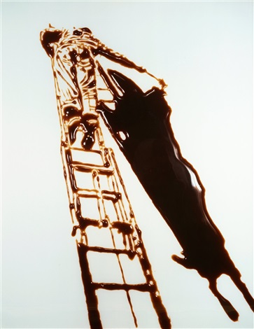 shadow painter pictures of chocolate by vik muniz