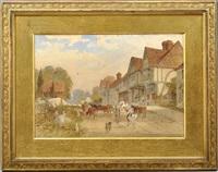 landstraße in einer englischen kleinstadt by arthur allom