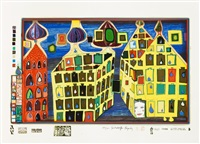 look at it on a rainy day (set of 8) by friedensreich hundertwasser