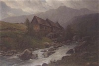 watermill in an alpine stream by m. roth