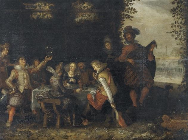 festliche tischgesellschaft im garten by david vinckboons
