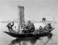 family fishing trip: a boat in the venetian harbor by antonio bignoli