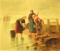 les pêcheuses sur la plage by pierre testu