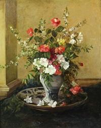 bouquet de fleurs au vase de delft by jules félix ragot