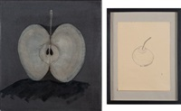 serodopamin (+ another, mixed media on paper; 2 works) by thomas zipp