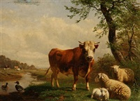 pastoral scene with bull and sheep by belgian school (19)