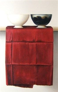 two bowls on red silk by wim blom