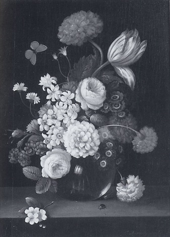 floral still life with beetle and butterfly by erich josef donau dogarth