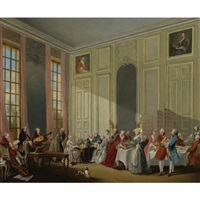 mozart giving a concert in the salon des quatre-glaces au palais dutemple in the court of the prince de conti by michel barthelemy olivier