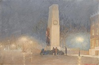 the cenotaph at night by yoshio markino