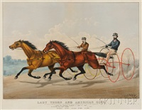 lady thorn and american girl in their great match by (lithographers) haskell & allen