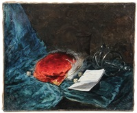still life with cap, sword, dice and note by giovanni boldini