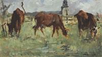 vaches au pâturage by édouard manet