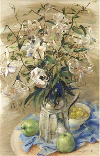 a still life with lillies in a glass vase by dirk kruizinga
