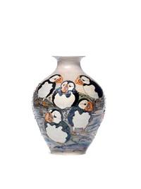 puffins large vase by lise b moorcroft