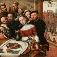 scène de la parabole de l'enfant prodigue avec sur le second plan une fête villageoise by jan van (brunswich monogrammist) amstel