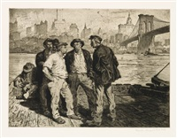 dock workers under the brooklyn bridge by martin lewis