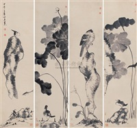 flowers and birds (4 works) by niu shihui