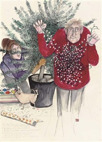 the couple putting up the christmas tree by susan macartney-snape
