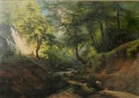 waldlandschaft mit flüsschen und einem reiter. im hintergrund ein auf kreidefelsen gelegenes schloß by franz leinecker