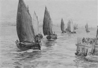 the herring fleet of wick entering the harbour by robert anderson