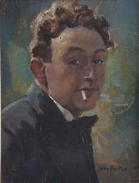 portrait of the artist piet van der hem (1885-1961) with sigaret, volendam by willy sluijter