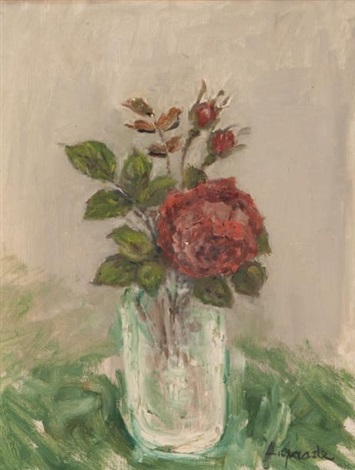 rose rouge vase verre by pierre laprade