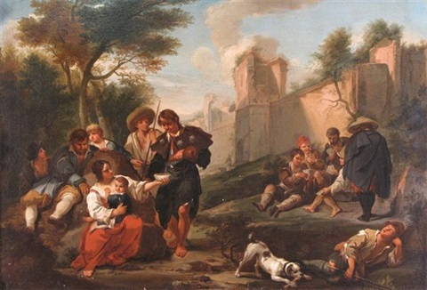 travellers resting outside a city wall by jan miel