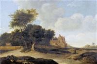 landschaft mit gehöft und staffage by roelof van vries