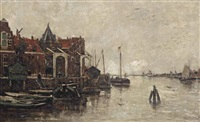 a view of the buitenkant with the schreierstoren, amsterdam by jacob henricus maris