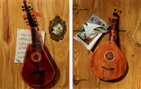 trompe l'oeil lutes (2 works) by frederick victor bailey