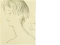 head study of a girl with short hair by augustus edwin john