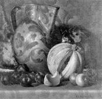 stilleben mit pflaumen, melone und krug by rino gaspare battaini