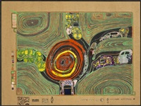le rond-point des croisés, pl. 10 (from look at it on a rainy day) by friedensreich hundertwasser