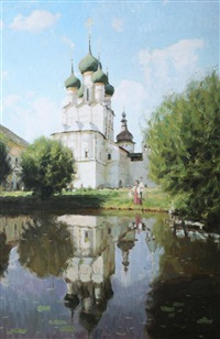figures outside of a church by sergei sokolov