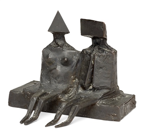 sitting couple on base v by lynn chadwick